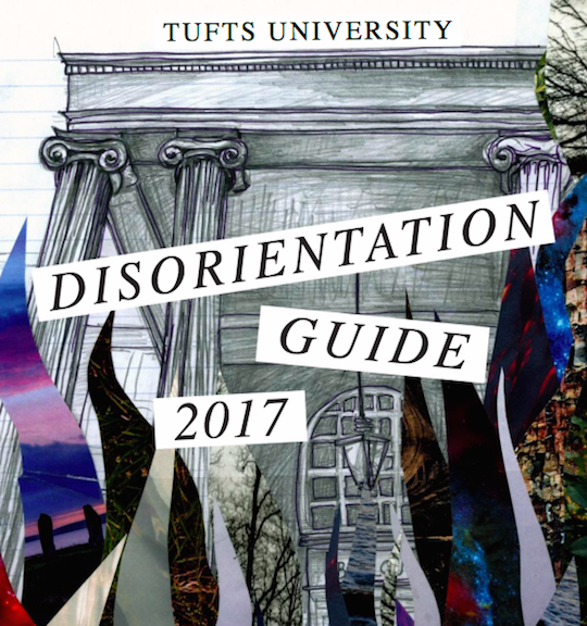 "The cover page of the ""Disorientation Guide"" prepared for incoming freshmen at Tufts University. The guide accuses Israel of ""white supremacy"" and promotes ""Israeli Apartheid Week."" Credit: Disorientation Guide."