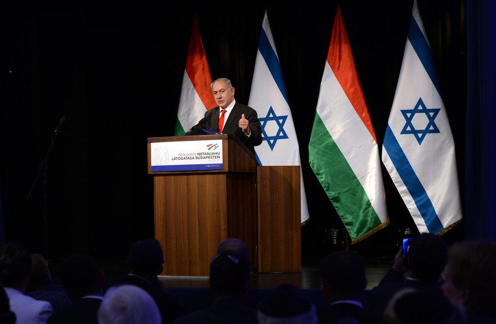 Prime Minister Benjamin Netanyahu speaks in Hungary. Credit: Haim Zach/GPO.