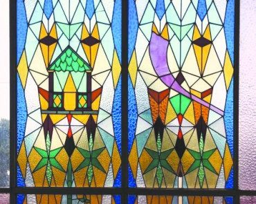 Stained glass from the Dutch synagogue in Assen that is now displayed at Israel's Yad Vashem Holocaust remembrance center. Credit: Yad Vashem.