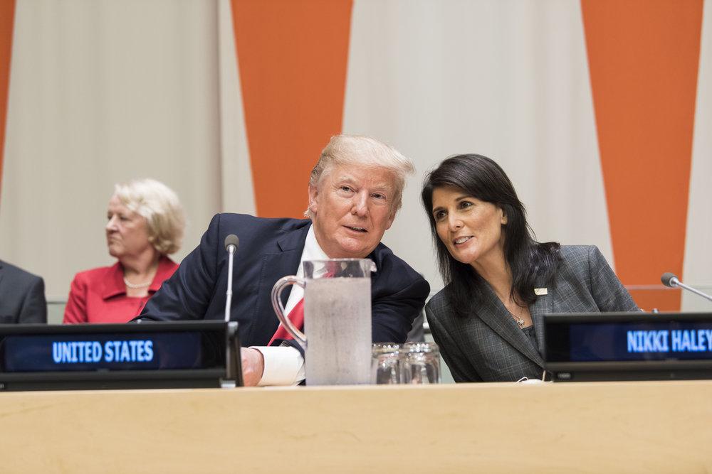 President Donald Trump and U.S. Ambassador to the U.N. Nikki Haley during a U.N. meeting Sept. 18. Credit: UN Photo/Mark Garten.