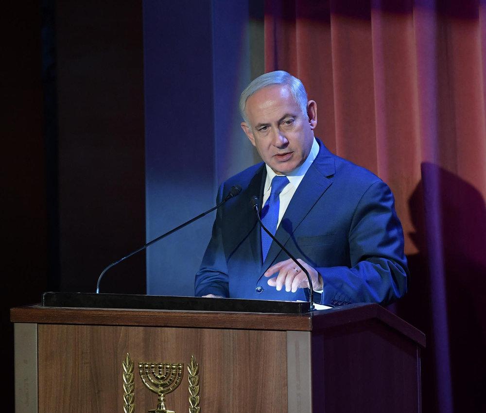 Prime Minister Benjamin Netanyahu addresses Israel's first-of-its-kind Christian media summit. Credit: Amos Ben-Gershom/GPO.