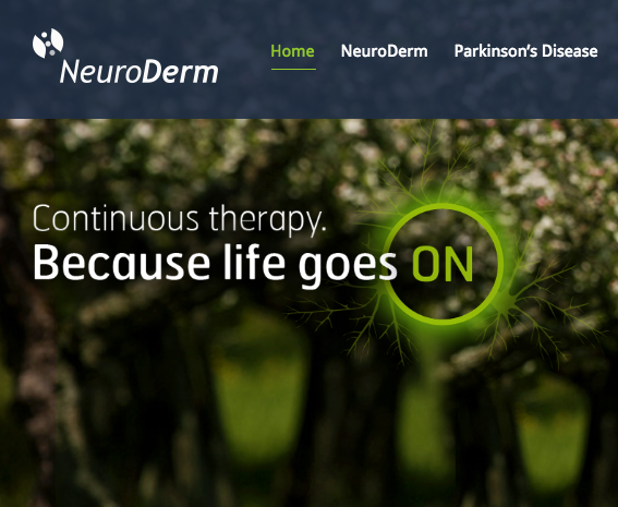 The NeuroDerm website. Credit: NeuroDerm.