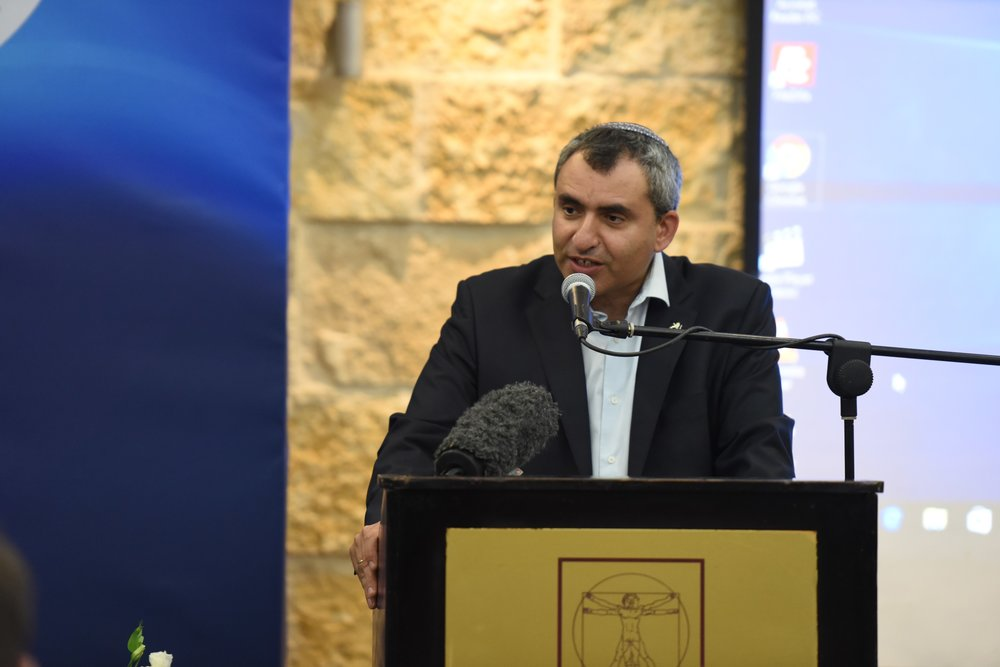 Minister of Jerusalem Affairs and Heritage Ze'ev Elkin addresses the Israeli government's inaugural Christian Media Summit. Credit: GPO.