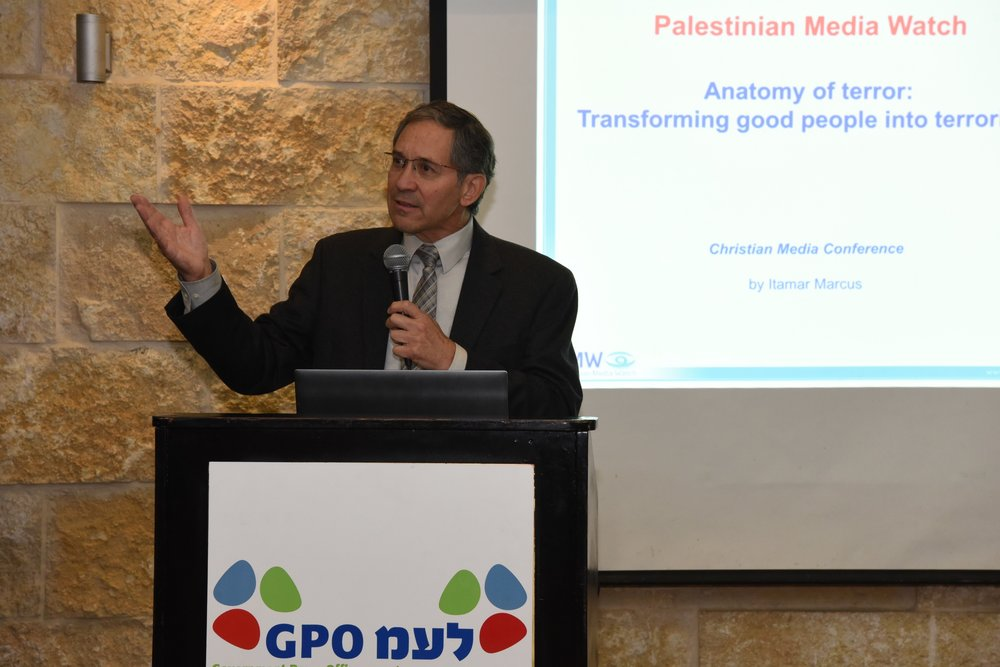 Itamar Marcus, founder of Palestinian Media Watch, gives a presentation on Palestinian incitement at Israel's Christian Media Summit. Credit: Lihi Shapire/GPO.