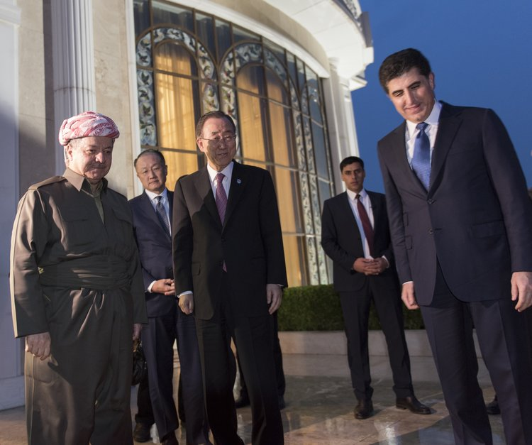 Ban Ki-moon, then secretary-general of the United Nations, meets with Masoud Barzani (left), president of the Kurdistan Regional Government (KRG), and Nechirvan Barzani (right), prime minister of the KRG, in March 2016 in Erbil, Iraq. Credit: U.N. Photo/Mark Garten.