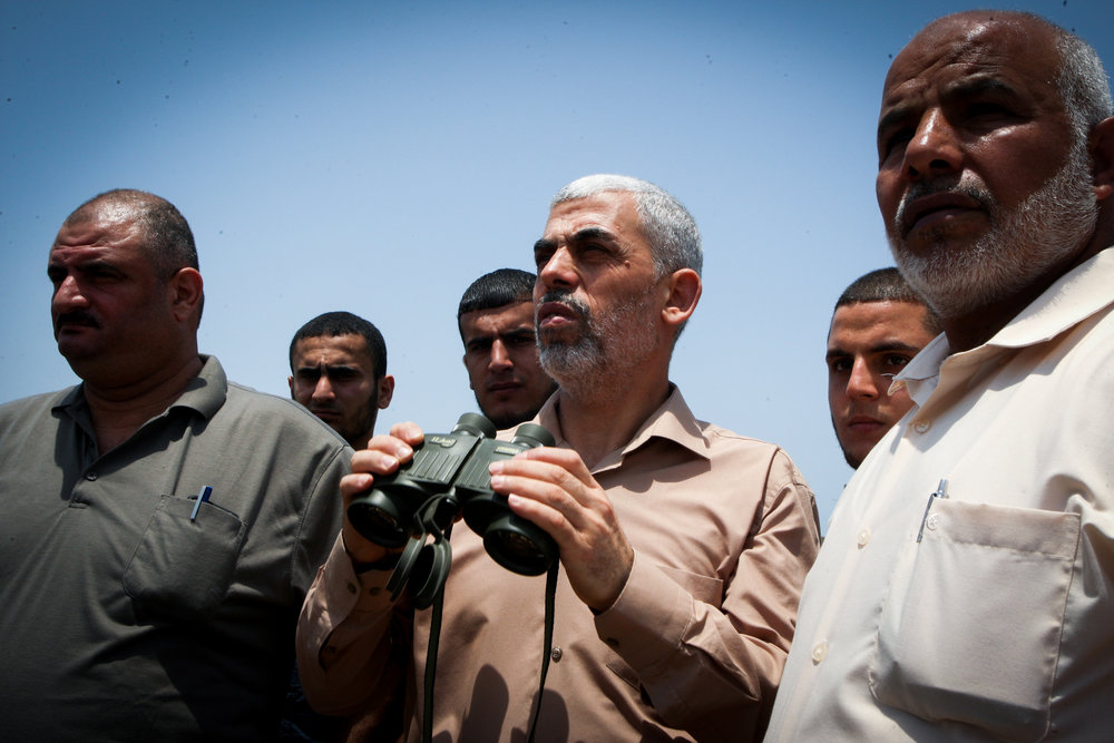 Yahya Sinwar (in center, with binoculars), the political chief in Gaza for the Palestinian terrorist organization Hamas. Credit: Abed Rahim Khatib/Flash90.