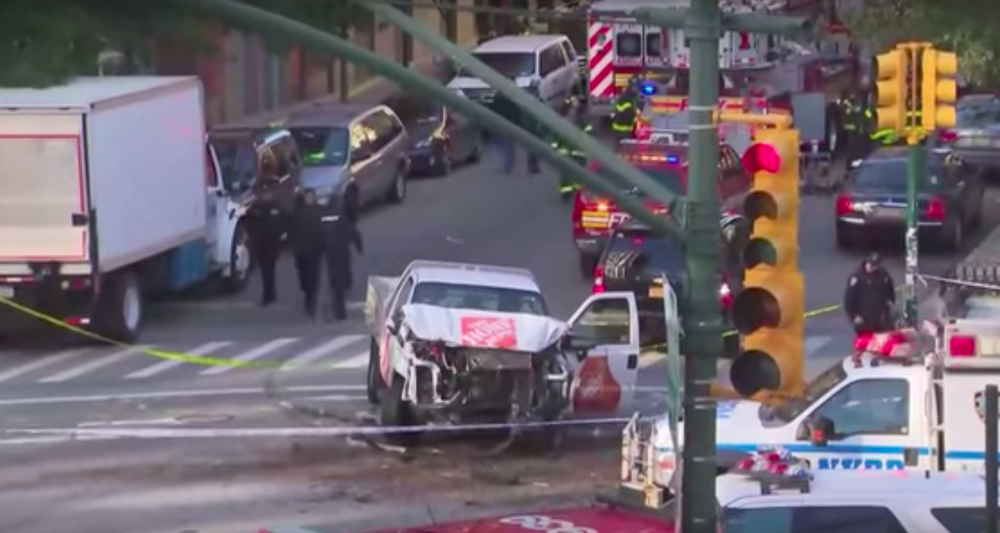 The scene after Tuesday's Islamist terror attack in New York City. Credit: YouTube.