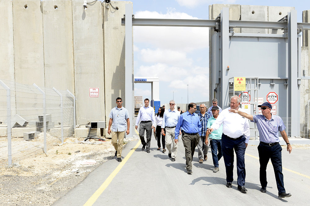 Israeli and American officials tour the Kerem Shalom border crossing between Israel and Gaza. Credit: U.S. Embassy Tel Aviv.