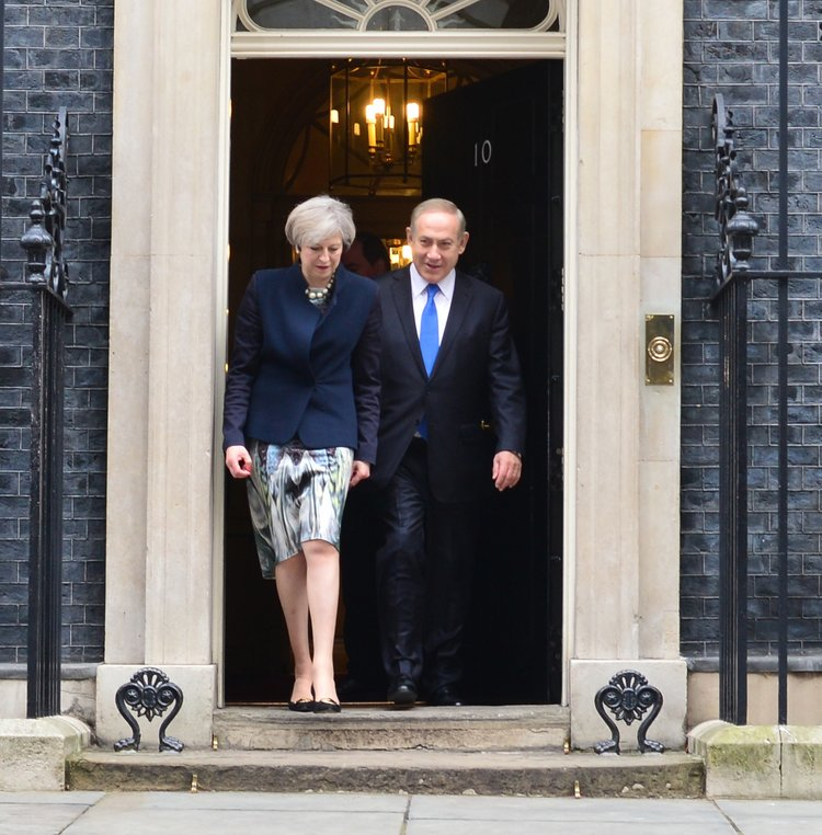 Israeli Prime Minister Benjamin Netanyahu with U.K. Prime Minister Theresa May at 10 Downing Street in London in February 2017. Credit: GPO.