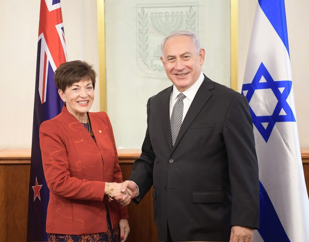 Israeli Prime Minister Benjamin Netanyahu (right) meets with New Zealand Governor-General Patsy Reddy on Oct. 30. Credit: Mark Neiman/GPO.