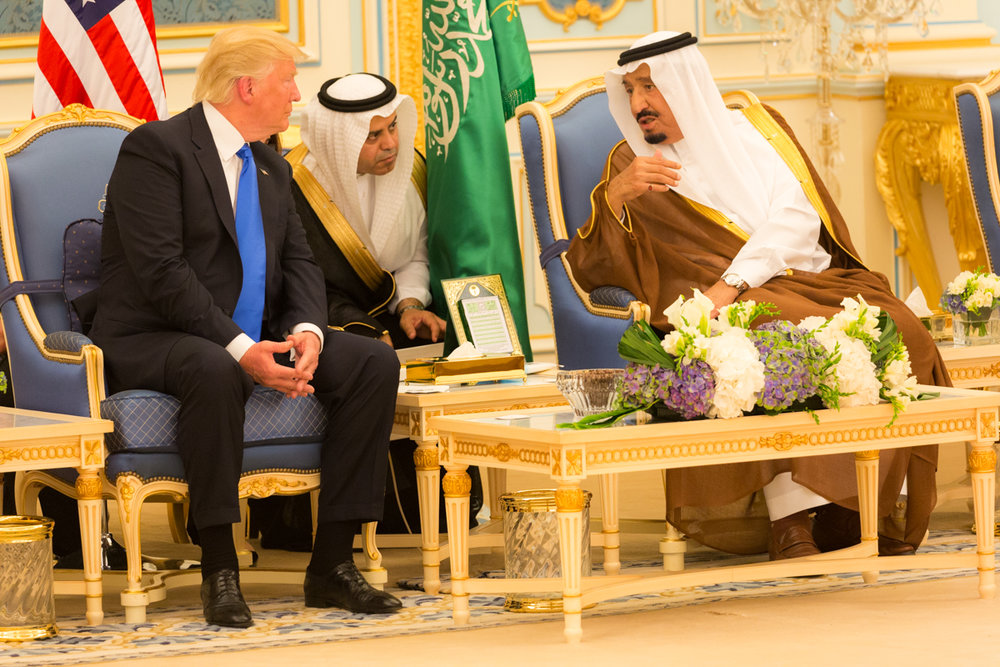 Saudi Arabia's King Salman (right) meets with President Donald Trump on May 20, 2017, in Riyadh. Credit: Shealah Craighead via Wikimedia Commons.