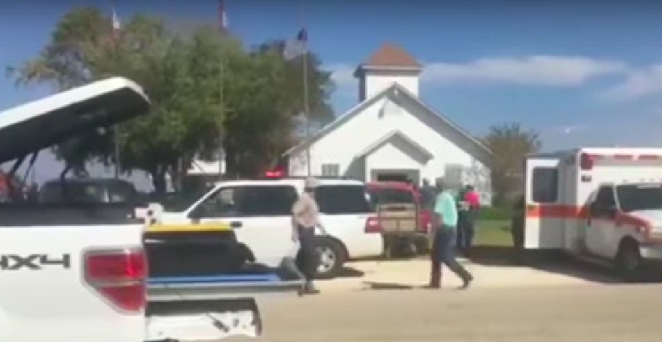 First Baptist Church in Sutherland Springs, Texas, after Sunday's massacre. Credit: YouTube.
