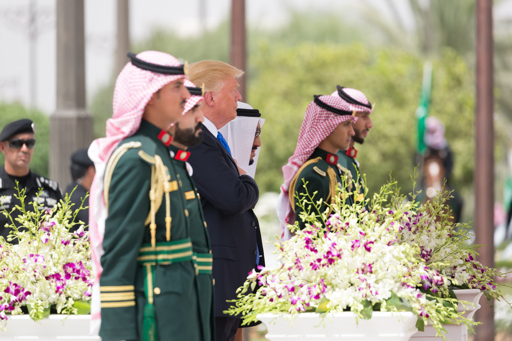 President Donald Trump (center) at the Royal Court Palace in Riyadh, Saudi Arabia, on May 20. Credit: White House Photo/Shealah Craighead.