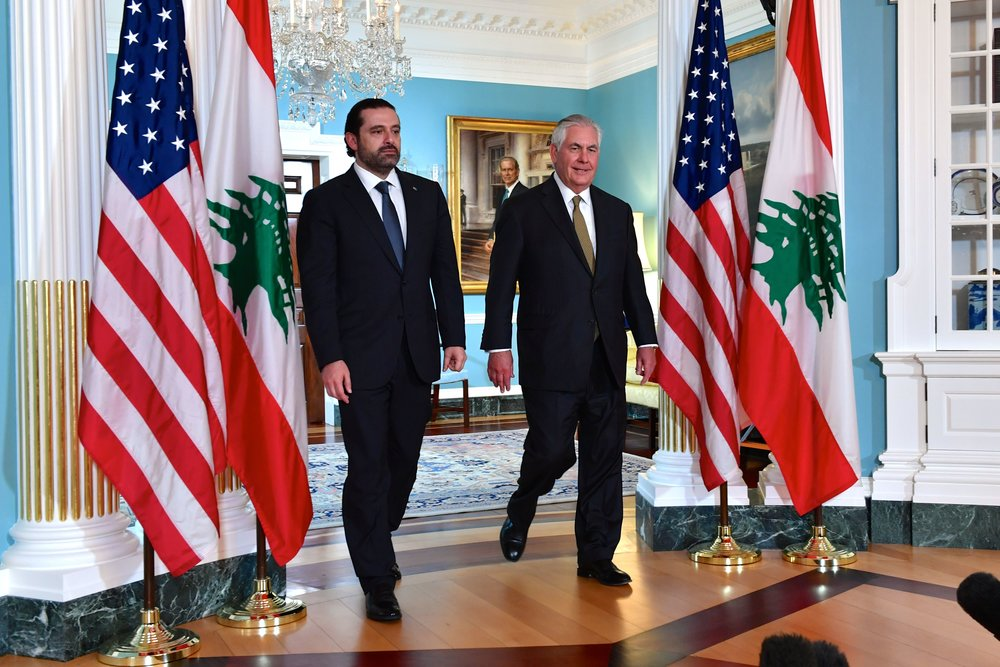 Then-Lebanese Prime Minister Saad Hariri (left) and U.S. Secretary of State Rex Tillerson prepare to address reporters before their bilateral meeting in Washington, D.C., on July 26, 2017. Credit: U.S. State Department.