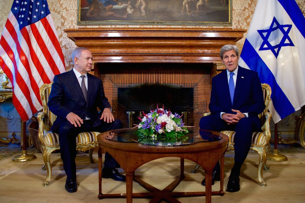 Then-U.S. Secretary of State John Kerry (right) sits with Israeli Prime Minister Benjamin Netanyahu as they address reporters June 27, 2016, at the U.S. Ambassador's Residence in Rome, Italy. Credit: U.S. State Department.