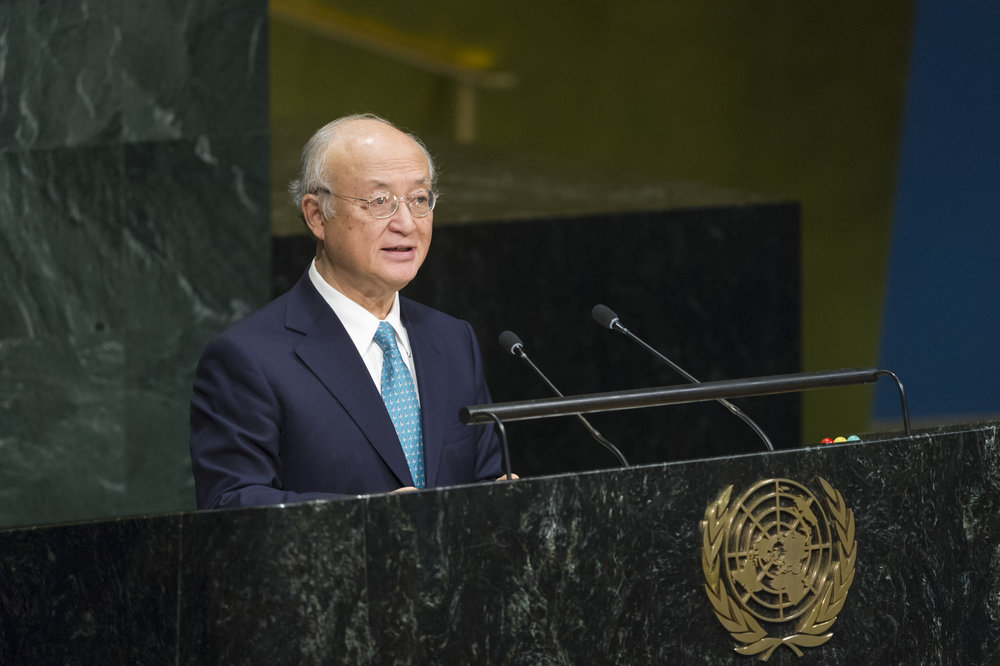 Yukiya Amano, director general of the International Atomic Energy Agency (IAEA), the nuclear watchdog of the United Nations, addresses the U.N. General Assembly as it considers a report of the IAEA on Dec. 12, 2016. Credit: U.N. Photo/Rick Bajornas.