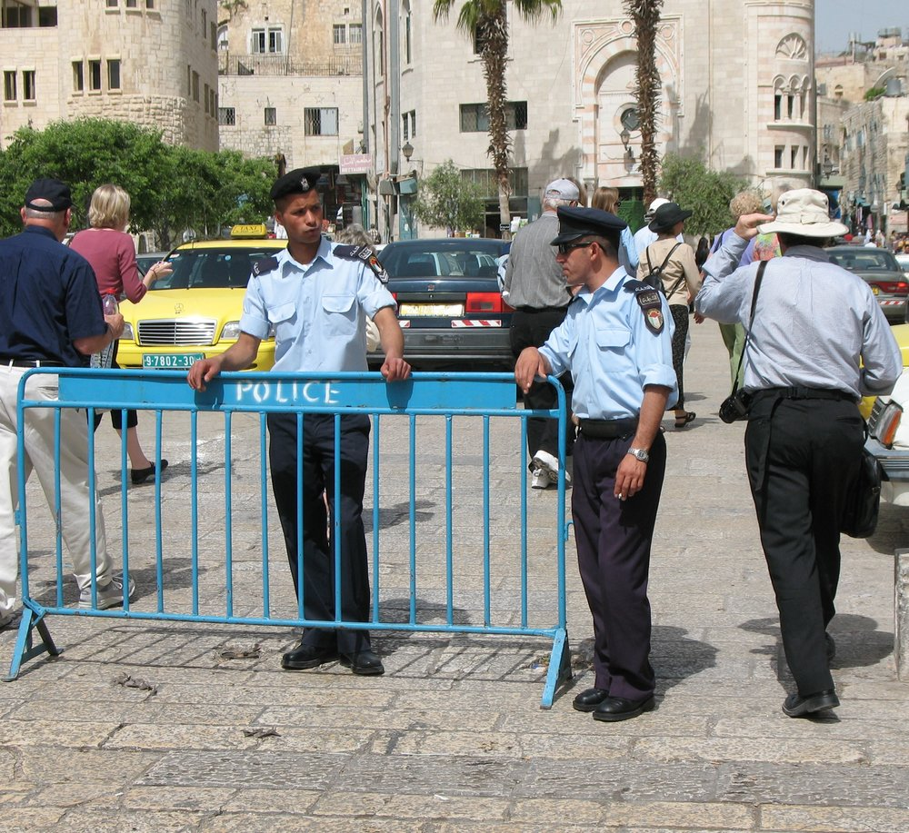 Palestinian police officers in Bethlehem. Credit:James Emery via Wikimedia Commons.