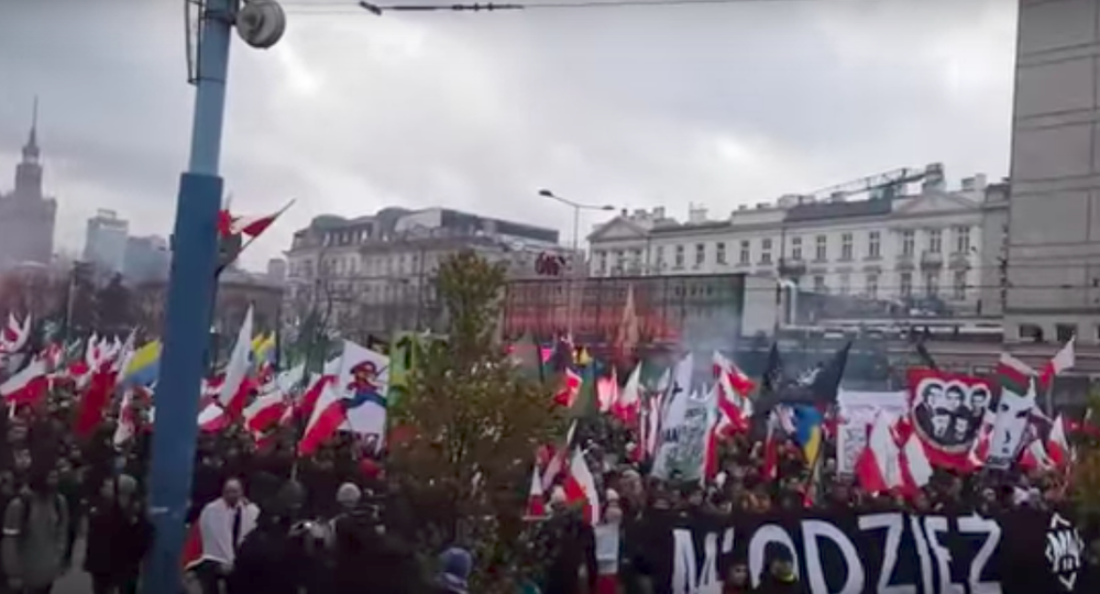 Saturday's Polish Independence Day march. Credit: YouTube.