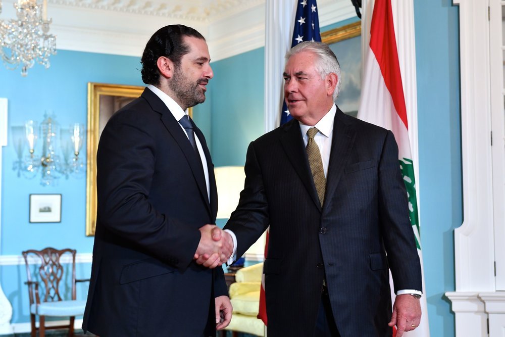 U.S. Secretary of State Rex Tillerson (right) shakes hands with Lebanese Prime Minister Saad Hariri before their bilateral meeting in Washington, D.C., on July 26, 2017. Credit: State Department.