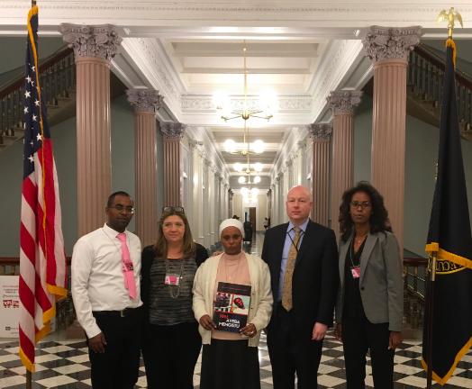 Mengistu family members meet with Jason Greenblatt, the Trump administration's international negotiations representative, at the White House. Credit: Twitter.