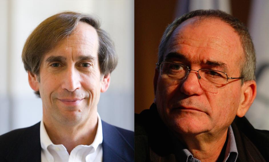 Former U.S. Mideast policy adviser Aaron David Miller (left) and Brig. Gen. (res.) Yossi Kuperwasser. Credit: Woodrow Wilson International Center for Scholars and Miriam Alster/Flash90.