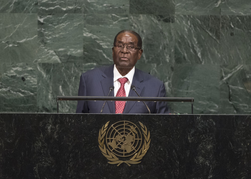 Robert Mugabe, the president of Zimbabwe, addresses the United Nations General Assembly on Sept. 21, 2017. Credit:U.N. Photo/Cia Pak.