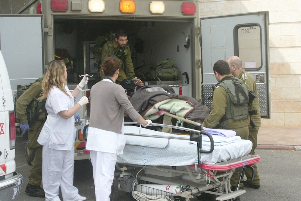 A wounded Syrian refugee arrives for treatment at Ziv Medical Center in Israel's northern city of Safed. Credit: Ziv Medical Center.