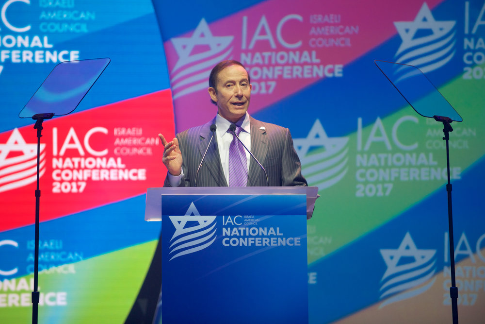 Adam Milstein, chairman of the Israeli-American Council (IAC), speaks at IAC's national conference this month in Washington, D.C. Credit: Perry Bindelglass.