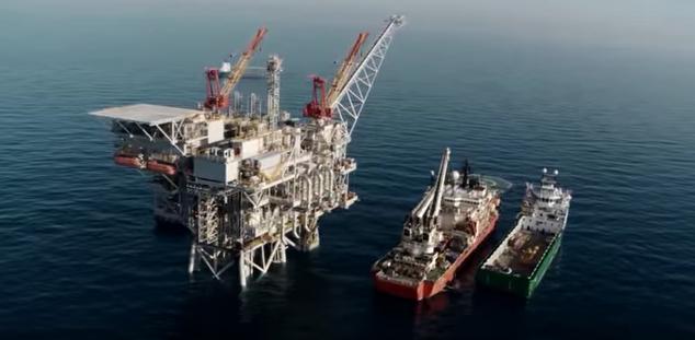A gas rig off of Israel's coast. Credit: YouTube screenshot.