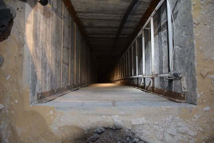 A terror tunnel discovered in Gaza in July 2014. Credit: IDF.