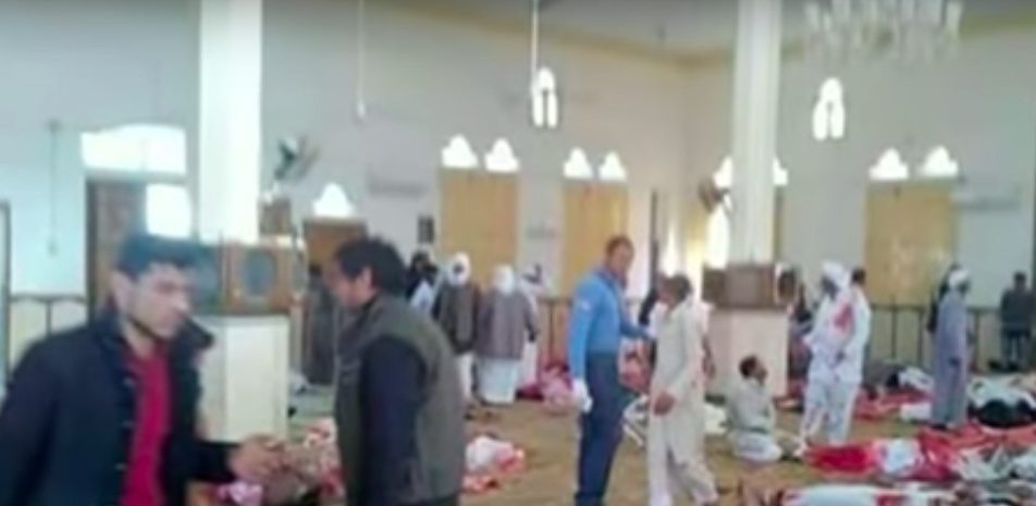 The scene after Friday's terror attack at the al-Rawdah mosque in the northern Sinai Peninsula. Credit: YouTube.