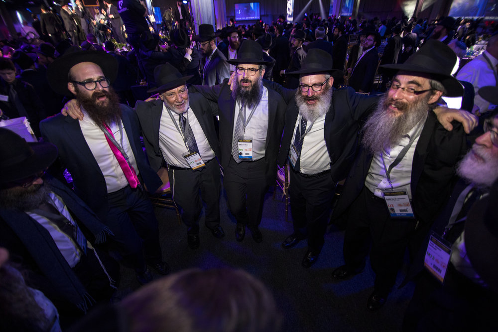 Emissaries and other guests rejoice during the Chabad-Lubavitch movement's 44th annual Kinus Hashluchim (gathering of emissaries) in Bayonne, N.J., on Nov. 19. Credit:Chabad-Lubavitch.