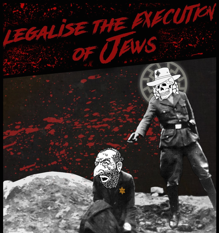 """A poster from the Australian neo-Nazi group Antipodean Resistance calls to """"legalize the execution of Jews."""" Credit:Antipodean Resistance via Wikimedia Commons."""