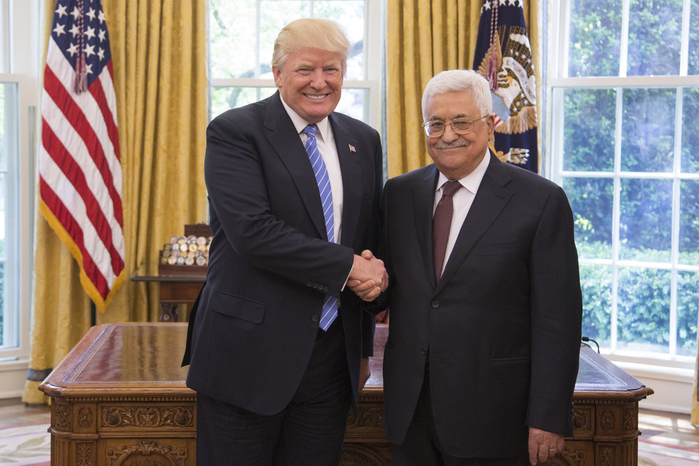 President Donald Trump (left) and Palestinian Authority President Mahmoud Abbas shake hands in the Oval Office on May 3, 2017. Credit: White House/Shealah Craighead.