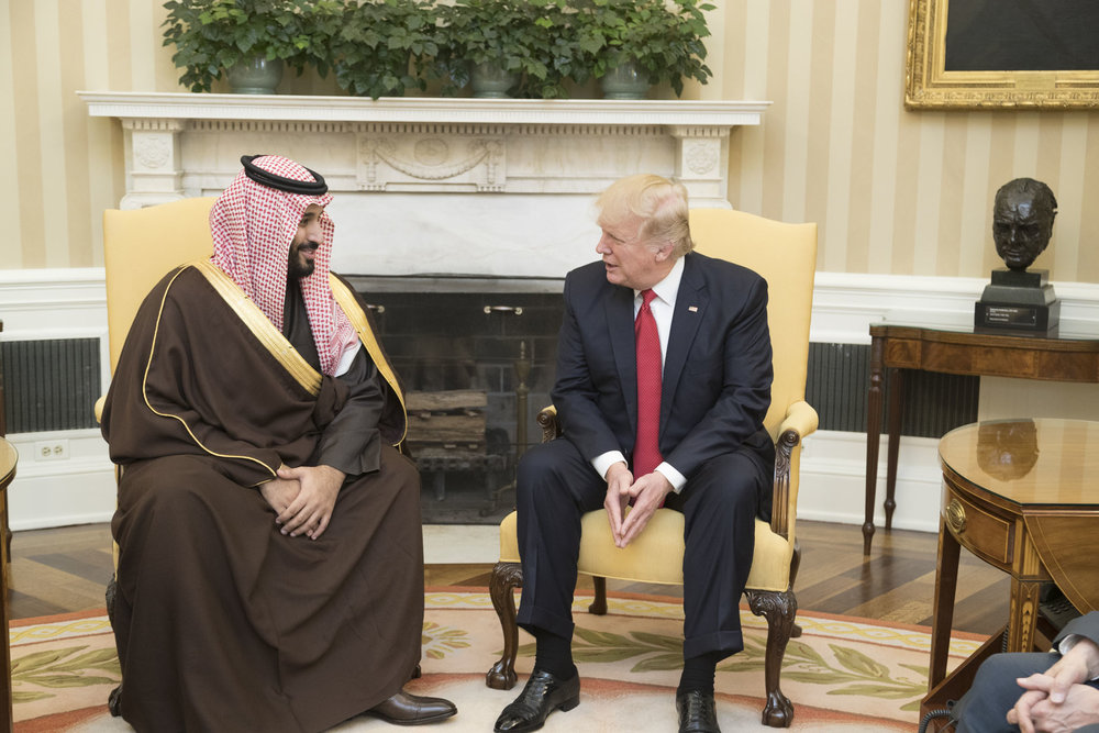 Saudi Crown Prince Mohammed bin Salman meets with President Donald Trump at the White House in March. Credit:White House/Shealah Craighead.