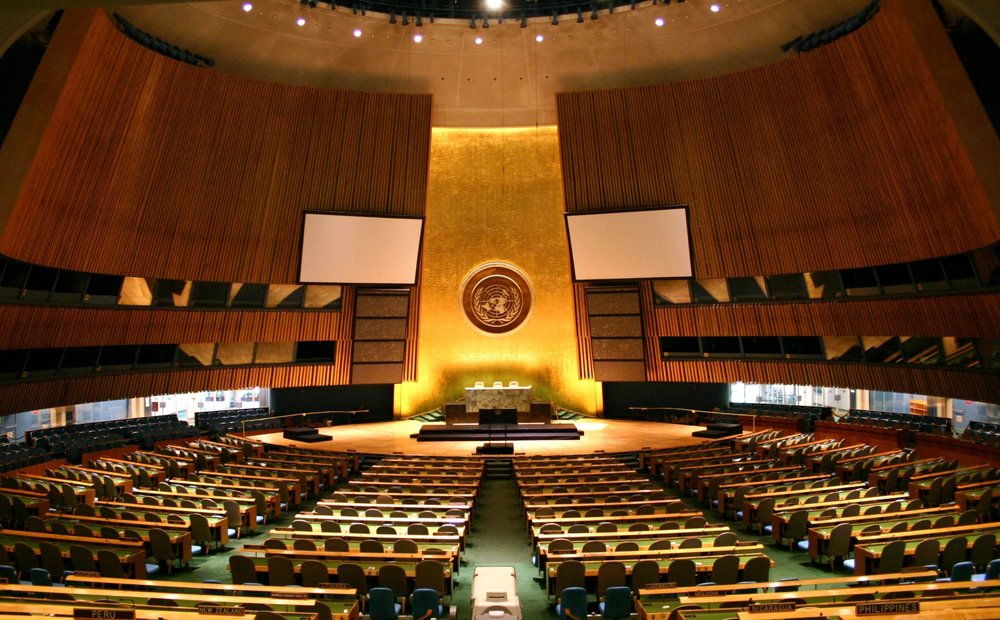 The United Nations General Assembly hall. Credit: Wikimedia Commons.