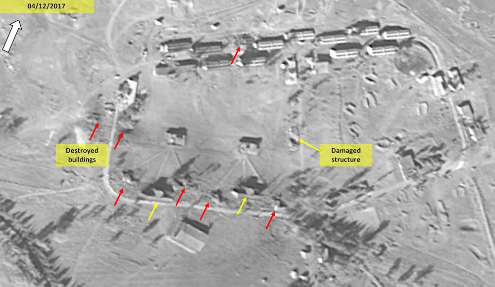 A satellite photo showing last weekend's alleged Israeli strike on a purported Iranian military base that was under construction in Syria. Credit:ImageSat International.