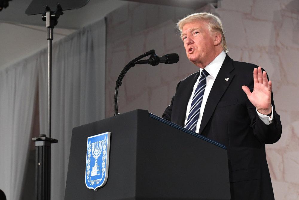 President Donald Trump speaks at the Israel Museum in Jerusalem on May 23, 2017. Credit: U.S. Embassy Tel Aviv.