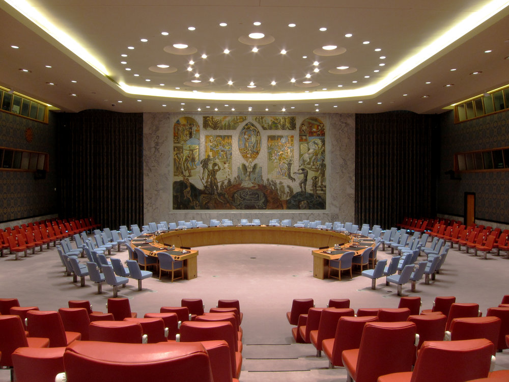 The United Nations Security Council chamber in New York City. Credit: Wikimedia Commons.
