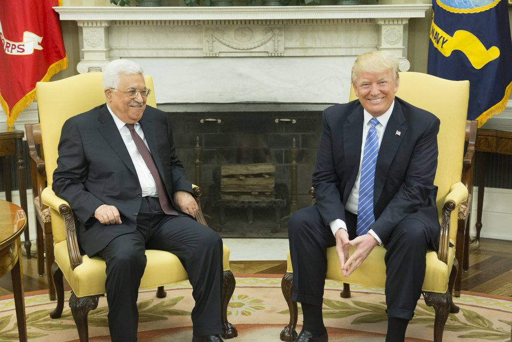 Palestinian Authority President Mahmoud Abbas (left) and President Donald Trump meet at the White House on May 3, 2017. Credit: White House/Shealah Craighead.