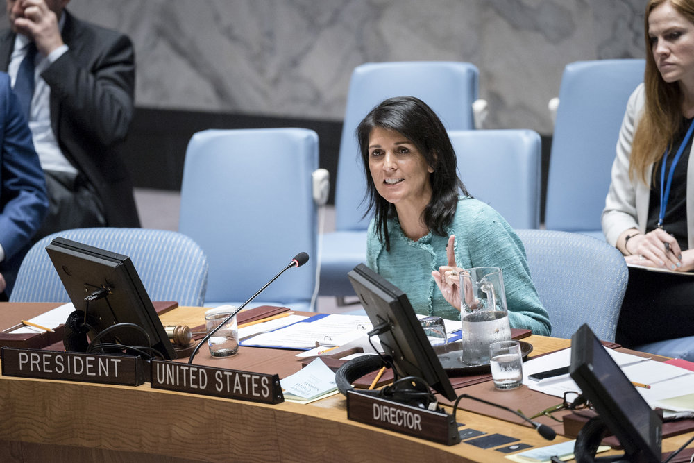U.S. Ambassador Nikki Haley addresses a United Nations Security Council meeting in April. Credit: U.N. Photo/Rick Bajornas.