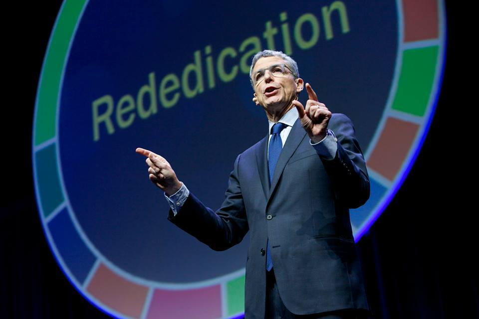 Union for Reform Judaism (URJ) President Rabbi Rick Jacobs speaks at the organization's biennial convention in Boston. Credit: URJ via Facebook.