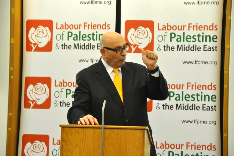Manuel E. Hassassian, the Palestinian Authority's chief envoy in London, speaks at an event hosted by a pro-Palestinian British lobby group. Credit: Labour Friends of Palestine & the Middle East via Facebook.