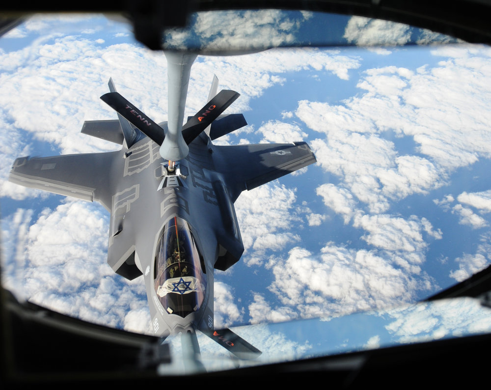 "An Israeli F-35 ""Adir"" jet receives fuel from a Tennessee Air National Guard KC-135 as the aircraft flies across the Atlantic on Dec, 6, 2016. Credit: U.S. Air Force/1st Lt. Erik D. Anthony."