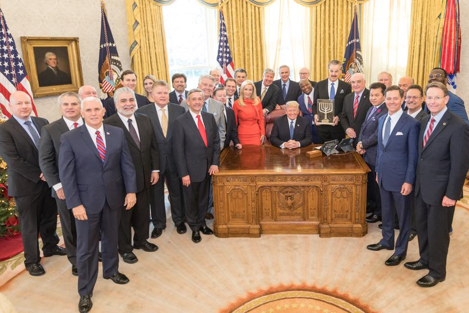 "President Donald Trump receives the ""Friends of Zion"" award from evangelical Christian leaders this week at the White House. Credit: Facebook."