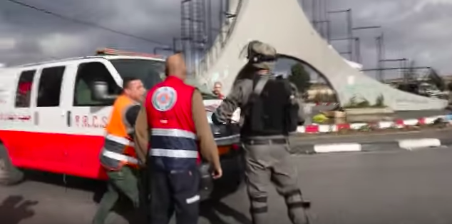 """The scene last Friday in Ramallah when an Israeli Border Police officer was moderately wounded after being stabbed by a Palestinian terrorist who was wearing a suicide vest amid """"day of rage"""" clashes. Credit: YouTube."""