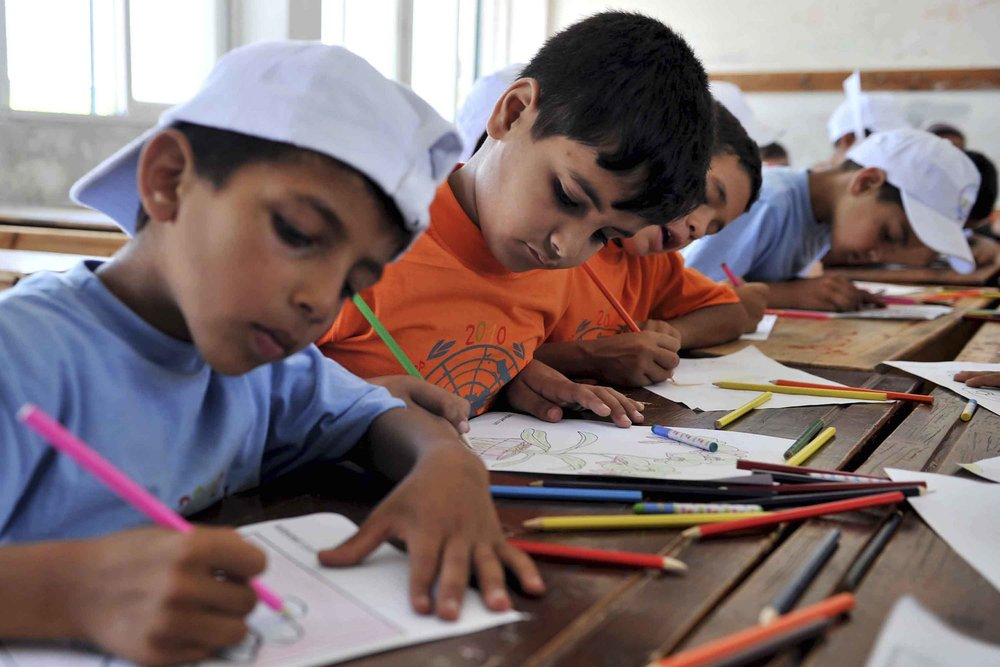 Palestinian children at a United Nations school in Gaza. Credit: U.N. Photo/Shareef Sarhan.