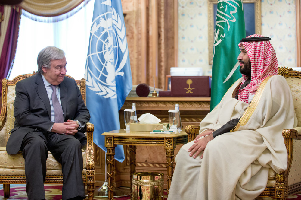 United Nations Secretary-General António Guterres (left) meets with Saudi Crown Prince Mohammed bin Salman on Feb. 12 in Riyadh. Credit: U.N./Mohammed Al Deghaishim.