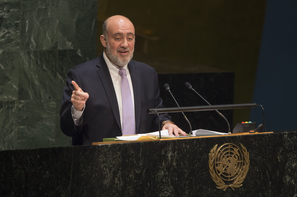 Ron Prosor (pictured), Israel's former ambassador to the United Nations, addresses the U.N. General Assembly in January 2015. Credit: U.N. Photo/Eskinder Debebe.