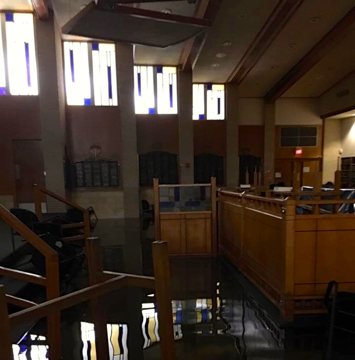 Flood damage from Hurricane Harvey at United Orthodox Synagogues (UOS) of Houston. Credit: Robert Levy via Facebook.